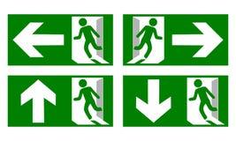 Przeciwawaryjny pożarniczego wyjścia znaka przedstawienie sposób uciekać ilustracji
