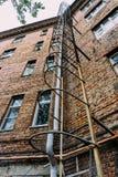 Przeciwawaryjny schody dla ewakuaci mieszkanie dom Obrazy Stock