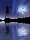 przeciwko człowiekowi nocnemu niebo ilustracja wektor