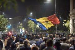 Przeciwrządowy protest w Bucharest Obrazy Royalty Free