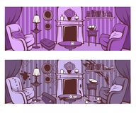 Przed i po cleaning, kreskówka opuszcza pokój w wiktoriański sty Fotografia Royalty Free