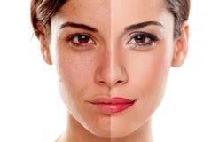 Przed i po makeup Zdjęcie Stock