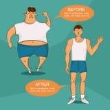 Przed i po przegrywanie ciężaru ilustracją Z nadwagą i normalni postać z kreskówki Wizerunek dla sporta, dieta, zdrowie, sadło gu Fotografia Royalty Free