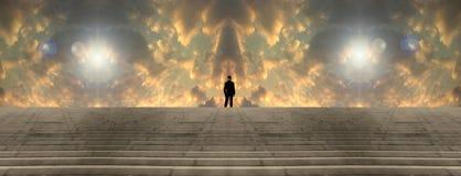 Przed surrealistycznym niebem ilustracji