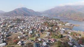 Przedmieścia Fuji średniogórza i Jeziorny Kawaguchi w Japonia zbiory