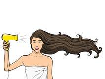 Przedmiot na białym tle Dziewczyna z długie włosy suszy hairdryer Reklamować szampon wektor Fotografia Royalty Free