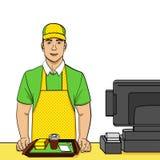Przedmiot na białym tle, punkt Młody facet w mundurze pracuje przy fast food kasą teatralną Komiczka styl, jedzenie, wektor Obrazy Stock