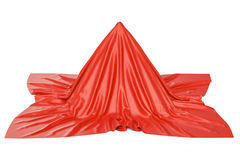 Przedmiot zakrywający czerwony płótno, 3D rendering ilustracji