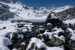Przedni Staw, lac en hiver images stock