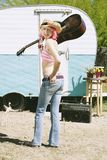 przednia przyczepy kobieta podróży Zdjęcie Stock