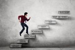 Przedsiębiorców kroki na schodkach z analiza tekstem Zdjęcie Royalty Free
