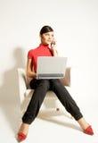 przedsiębiorcy laptopa telefonu kobiety Zdjęcie Stock