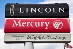 przedstawicielstwa handlowego brodu Lincoln rtęci znak Zdjęcia Stock