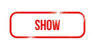 przedstawienie - czerwona grunge guma, znaczek royalty ilustracja