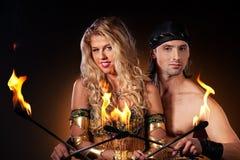 przedstawienie pożarnicze pochodnie obraz royalty free
