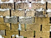Przedyskutowana bloku ogrodzenia ściany tekstura Fotografia Stock