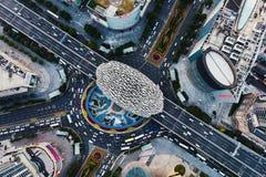 Przegapia Wujiaochang dzielnicy biznesu Szanghaj od powietrza obraz stock