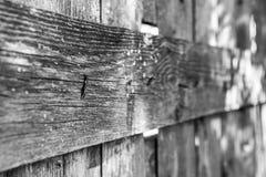Przegięty gwóźdź w starym drewnianym ogrodzeniu fotografia stock