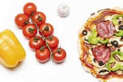 Przegląd świeża pizza obraz stock