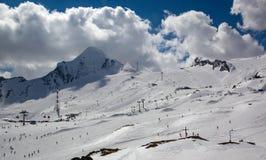 Przegląd Austriacki ośrodek narciarski w Alps Fotografia Stock