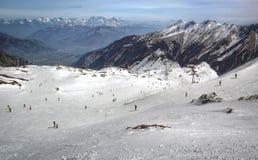 Przegląd Austriacki ośrodek narciarski w Alps Obrazy Royalty Free