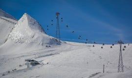 Przegląd Austriacki ośrodek narciarski w Alps Zdjęcia Stock