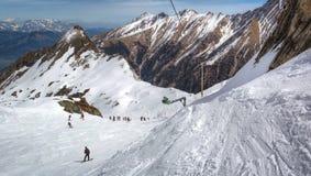 Przegląd Austriacki ośrodek narciarski w Alps Obraz Royalty Free