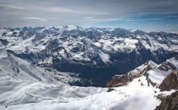 Przegląd Austriacki ośrodek narciarski w Alps Obraz Stock