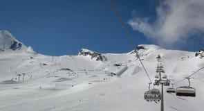 Przegląd Austriacki ośrodek narciarski w Alps Obrazy Stock