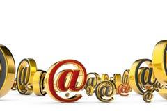 Przegląd Internetowe wiadomości @ Mnóstwo spama emaila szarość sym Obraz Royalty Free