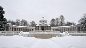 Przegląd kolumnada w zimie - Arkhangelskoye nieruchomość zdjęcie stock