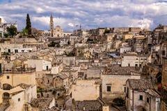 Przegląd Matera miasteczko w południowym Włochy Fotografia Stock