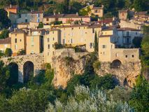 Przegląd Moustiers-Sainte-Marie, Francja obraz royalty free