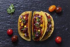Przegląd trzy tacos obrazy stock