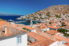 Przegląd wyspa Hydra, Grecja fotografia stock
