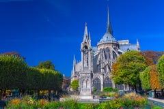 Przegląda piękną Notre Damae katedrę i kwiaty w S z ogródem Fotografia Stock