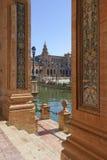 Przegląda Plac De Espana w Seville, Hiszpania Zdjęcia Royalty Free