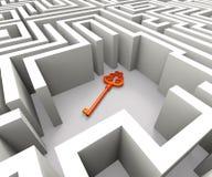 Przegrany klucz W labiryncie Pokazuje ochrony rozwiązanie Obraz Stock