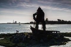 Przegrany rybaka pomnik - Silohuette Zdjęcia Royalty Free