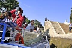 Przejście kędziorek Fonserannes na kanale du Midi Zdjęcia Royalty Free