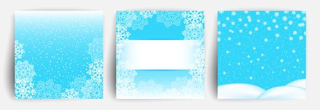 przejazd tła zimy śniegu Set Bożenarodzeniowy kartka z pozdrowieniami projekta szablon dla ulotki, sztandar, zaproszenie, gratula ilustracja wektor
