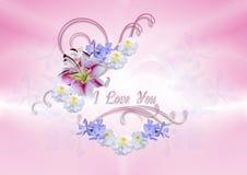 Przejrzyści serca zakrywający z białą lelują z kwiatami i kędziorami ilustracji