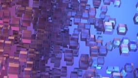 Przejrzyści szklani bloki przypadkowo ustawiający w przestrzeni z białym tłem Zdjęcie Royalty Free