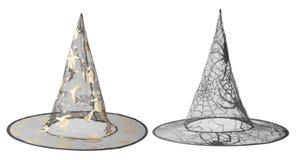 Przejrzyści czarni czarownica kapelusze dla Halloween Obrazy Royalty Free