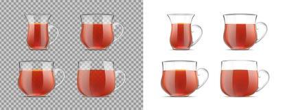 Przejrzysta herbaciana filiżanka z czarną herbatą ilustracja wektor