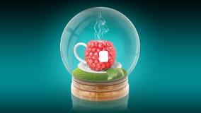 Przejrzysta sfery piłka z malinową filiżanką herbata inside świadczenia 3 d Fotografia Royalty Free