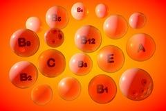 Przejrzysta witamina A, C, E, B1, B2, B3, B5, B6, B9, B12 pigułki na pomarańczowym tle Witaminy i kopaliny kompleks 3d Obrazy Royalty Free