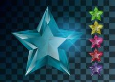 Przejrzyste Gemstones gwiazdy Set krystaliczne gwiazdy ilustracji