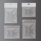 Przejrzyste klingeryt kieszeni torby ustawiają Pustą pakunek kolekcję ilustracja wektor