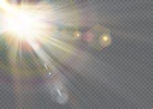 Przejrzystego światło słoneczne obiektywu specjalnego błysku lekki skutek frontowy słońce obiektywu błysk Fotografia Stock